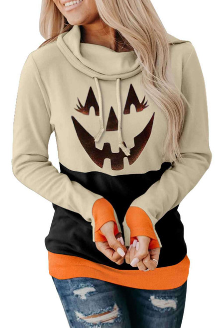 Neck Pumpkin Print Color Block Halloween Sweatshirt