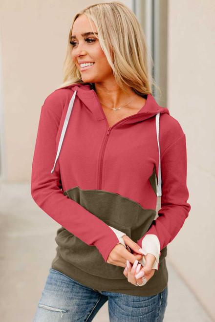Half Zip Colorblock Hoodie For Women