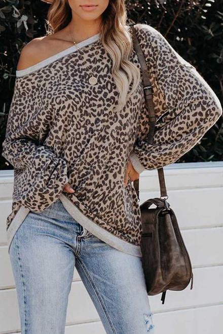 Leopard Lantern Sleeve Knitted Sweatshirt