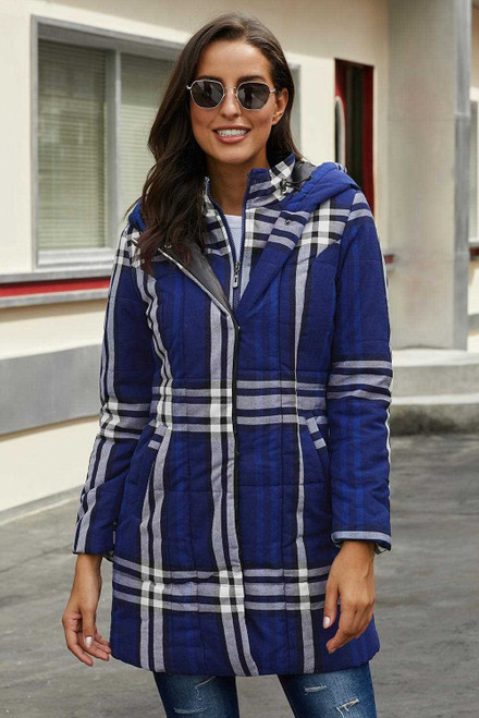 Vintage Plaid Cotton Quilted Trench Coat