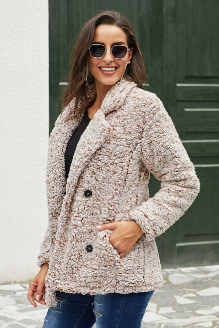 Double-breasted Lapel Plush Jacket For Women