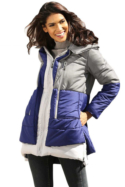 Gray Navy Colorblock 2-In-1 Look Quilted Jacket