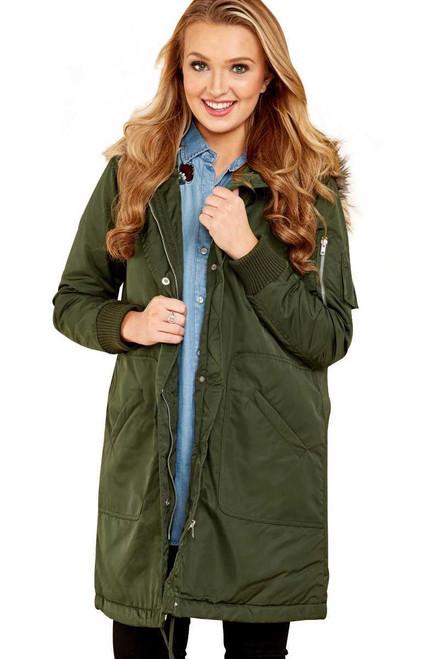 Fur Trim Hooded Longline Coat For Women