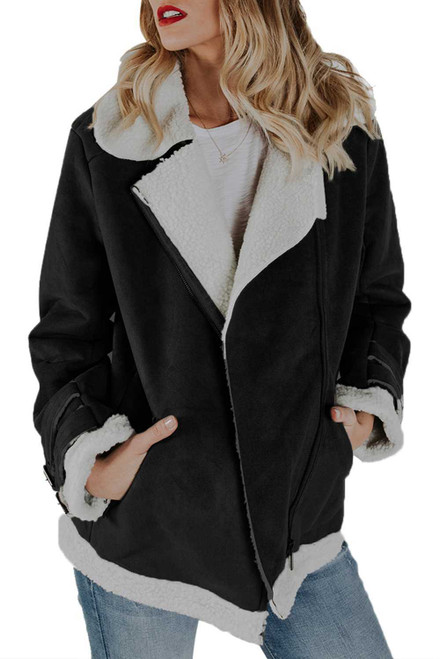 Faux Suede Jacket with Zipper Pockets