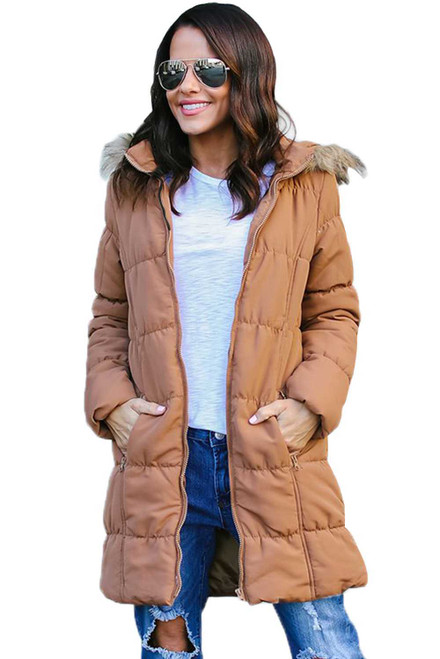 Camel Fur Trim Hooded Long Quilted Coat