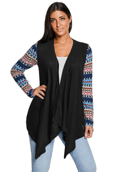 Black Waterfall Patchwork Long Sleeve Oversize Coat