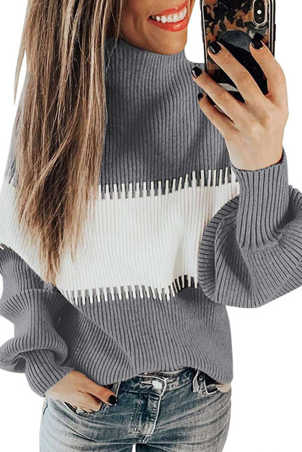 Color Block High Neck Pullover Sweater For Women