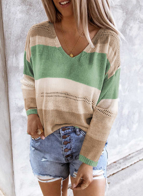 V Neck Colorblock Knitted Sweater with Hollow-out