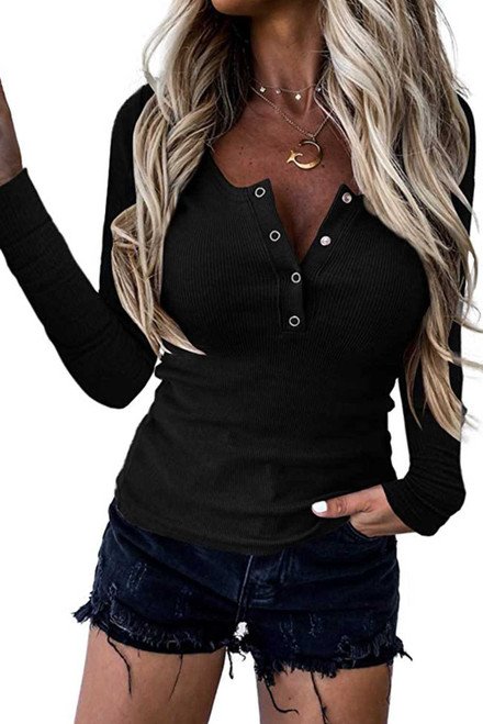 Scoop Neck Buttoned Front Long Sleeve Knitted Top