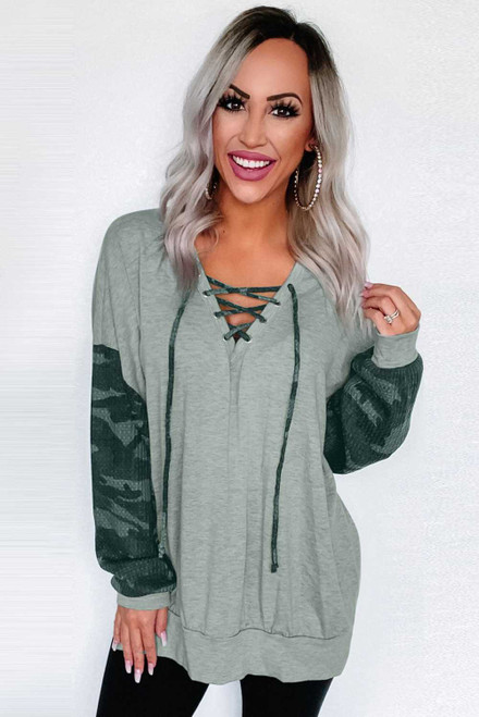Gray Camo Lace-Up Side Split Hem Long Sleeve Top