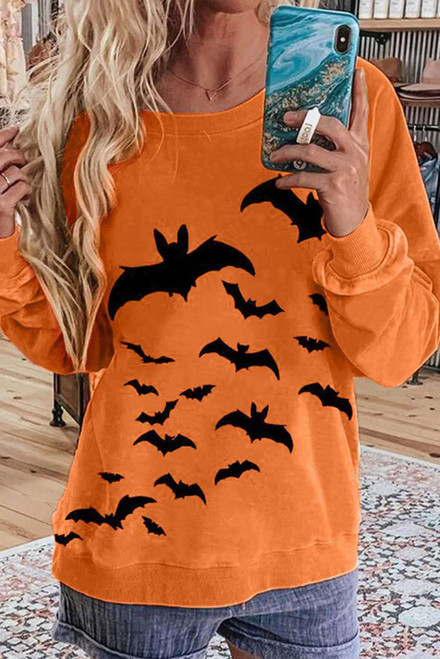 Bat Print Halloween Spirit Orange Sweatshirt