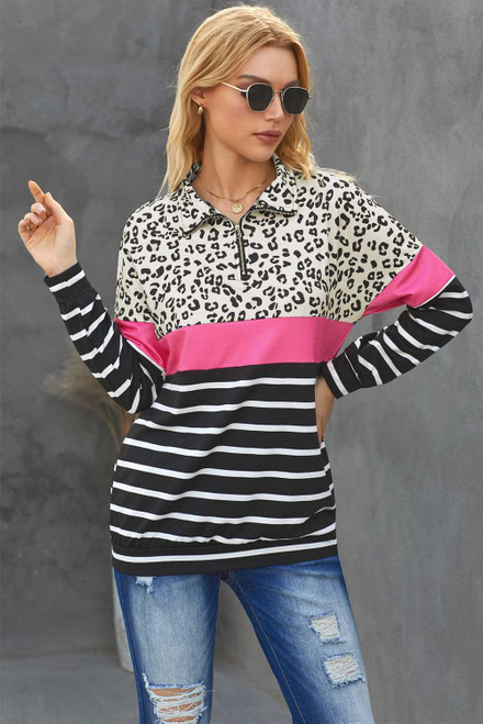 Leopard Striped Camo Zip Collar Pullover Sweatshirt