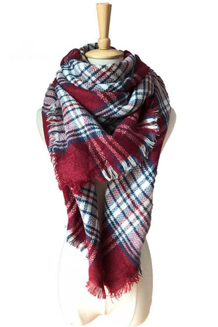 Burgundy Plaid Tassel Fashion Scarf