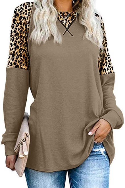 Leopard Stitching Long Sleeve Top