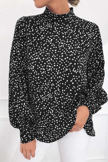 Mock Neck Lantern Sleeve Fashion Print Blouse