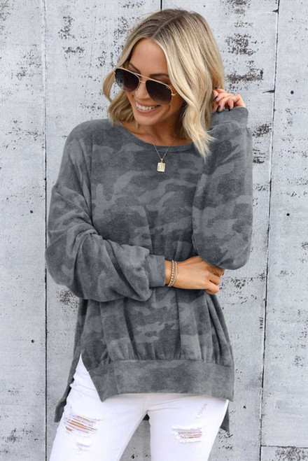 Gray High-low Edge Camo Print Sweatshirt