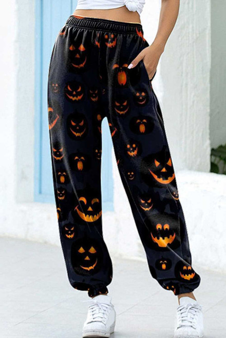 Black Halloween Jack-O-lantern Print Sweatpants