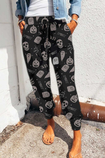 Black Halloween Skull Ghost Print Sweatpants