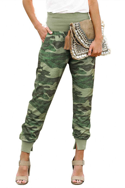 Tie-dye Pocket Casual Pants With Slit