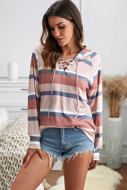 Lantern Sleeve Lace-up Color Block Striped Knit Hoodie