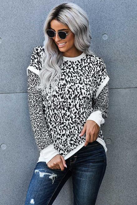 Black Leopard Printed Long Sleeve Contrast Trim Sweatshirt
