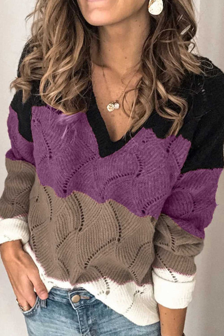 V Neck Colorblock Textured Knit Sweater