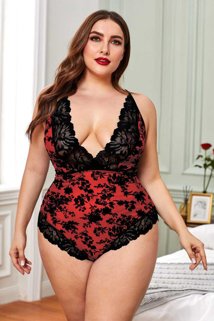 Plus Size Promise Red Lace Teddy