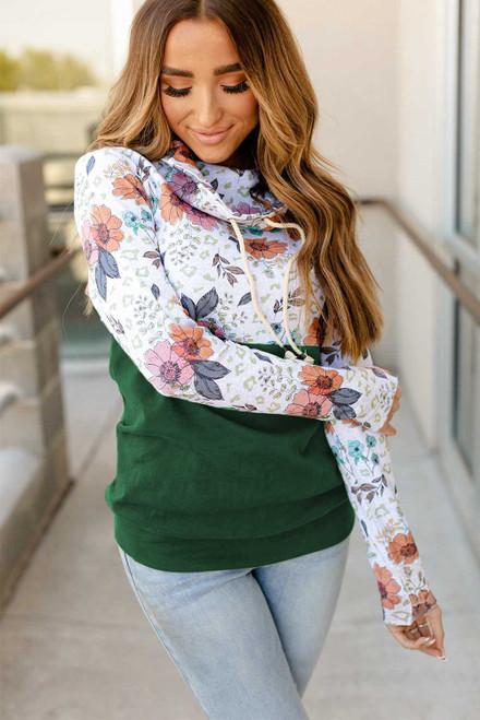 Green Wild Thing Patchwork Cowl Neck Sweatshirt