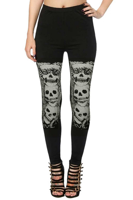 Black High Waist Skull Print Halloween Leggings