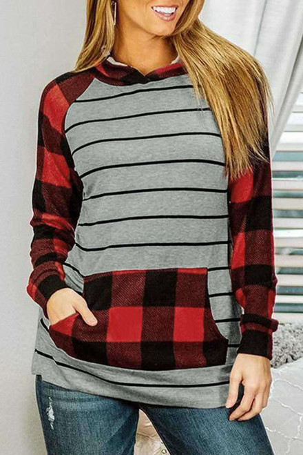 Black Stripe Red Plaid Long Sleeve Kangaroo Pocket Hoodie