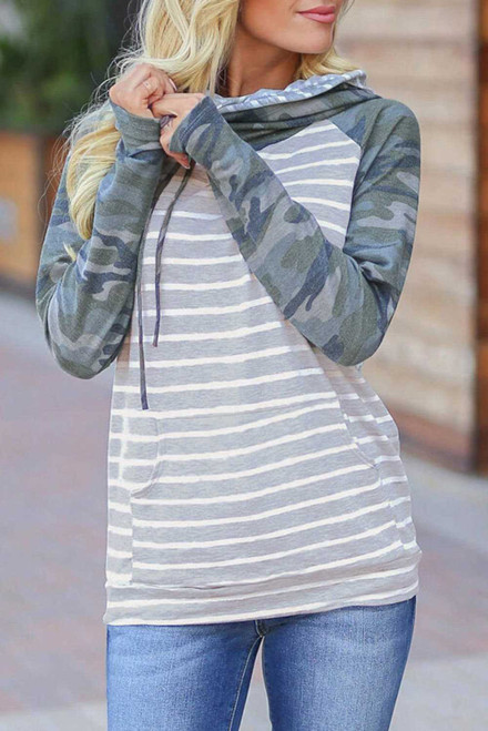 Gray Striped Camouflage Drawstring Kangaroo Pocket Hoodie