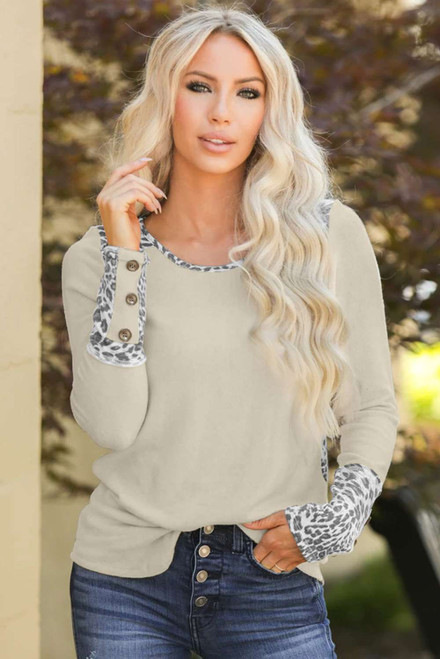 Beige Leopard Splicing Button Long Sleeves Top