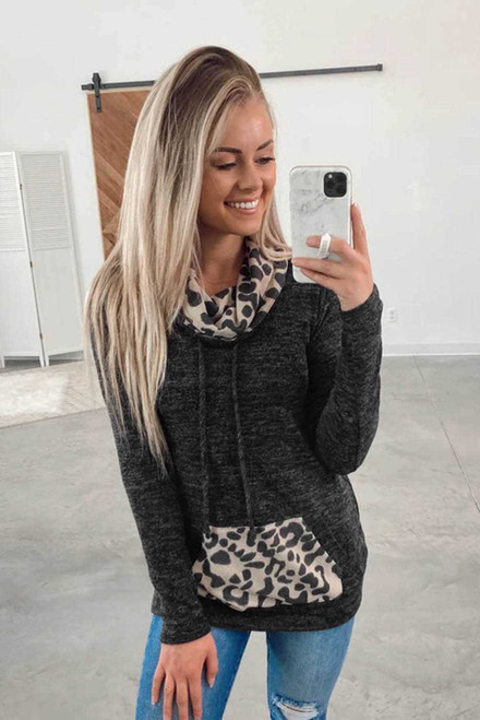 Gray Leopard Stitching Cowl Neck Pocket Pullover Hoodie