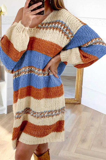 Color Block Cable Knit Sweater Dress
