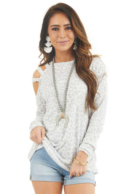 White Leopard Cold Shoulder Long Sleeve Blouse