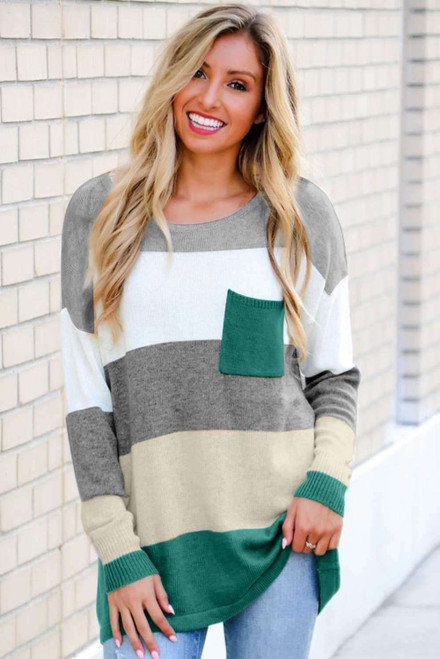 Colorblock Pocketed Sweater