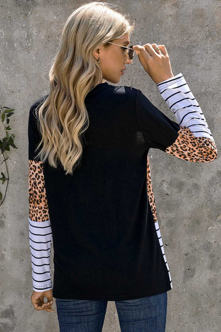Camo Stripes Patchwork Long Sleeve Top with Pocket