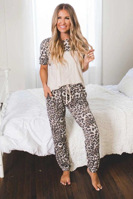 Leopard Splicing Short Sleeve Two Pieces Loungewear