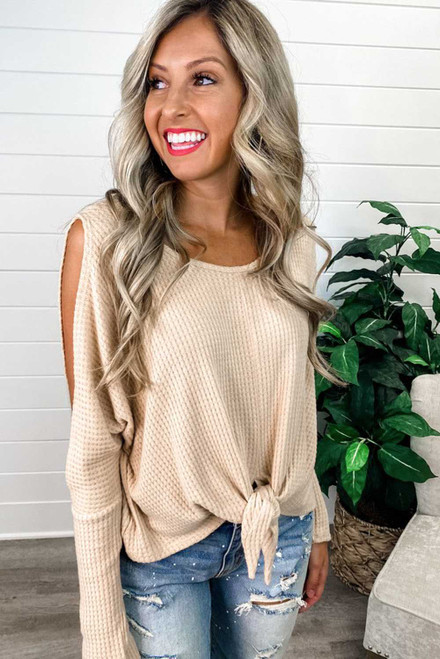 Apricot Waffle Knit Front Tie Cold Shoulder Long Sleeve Top