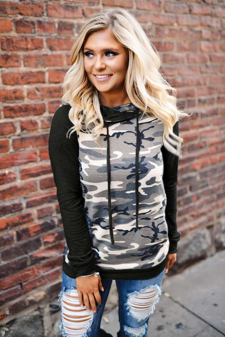 Camouflage Pocket Hoodie For Women