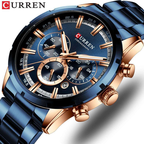 Curren New 8355 Men's Watch Waterproof Quartz Six-pin Calendar Steel Band