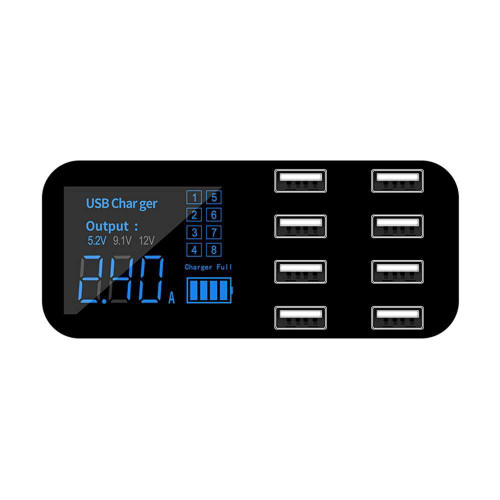 A9S Fast Car Charger 8 Port Multi USB LCD Display 12V