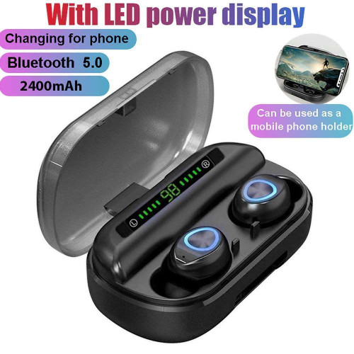 V10 TWS BT 5.0 Wireless Earbuds LED Screen Stereo Touch 2400mAh Powerbank
