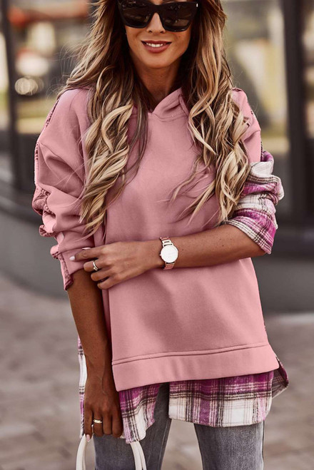 Pink Plaid Splicing Drawstring Hoodie