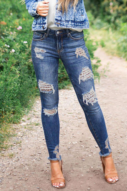 Dark Blue Washed Skinny Jeans with Distressed Leopard Print