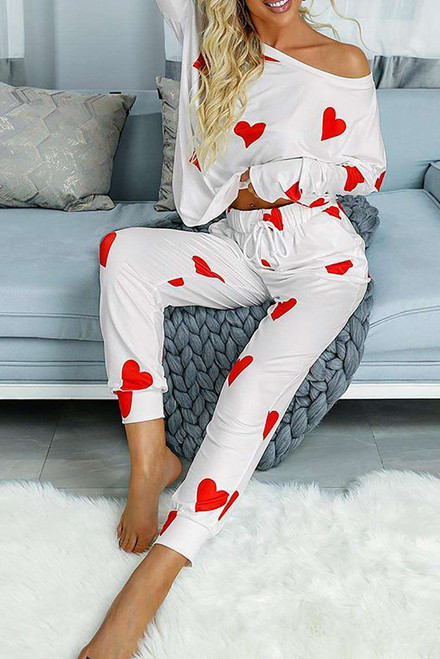 Valentines Day Love Heart Print Long Sleeves Two-piece Loungewear