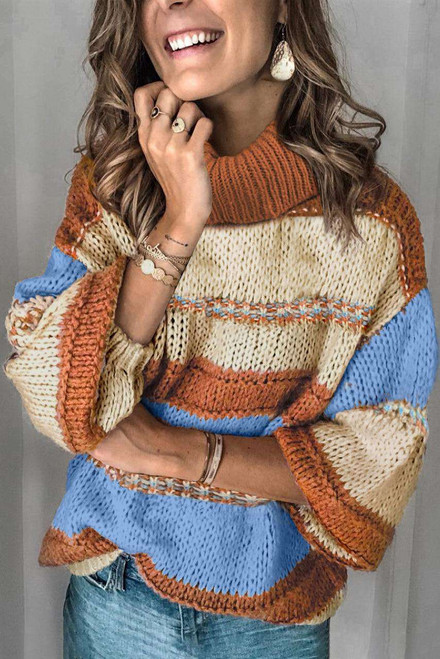 Turtleneck Color Block Balloon Sleeves Knit Sweater