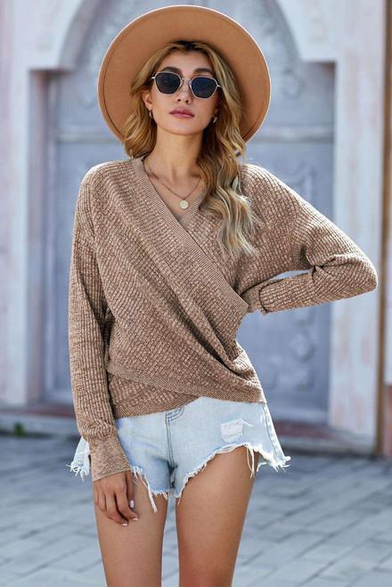 Khaki Deep V-neck Long Sleeve Knit Sweater