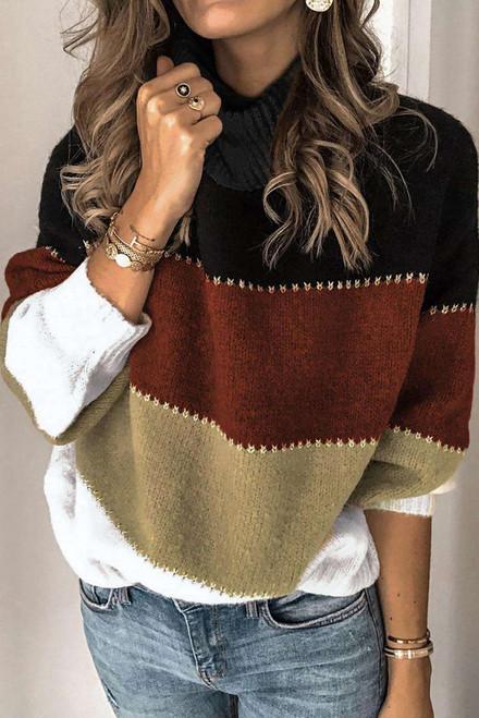 Khaki Accent Color Block Turtleneck Chunky Knit Sweater