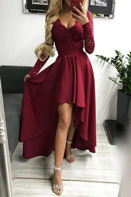 Red V-neck Lace Backless High and Low Hem Evening Dress